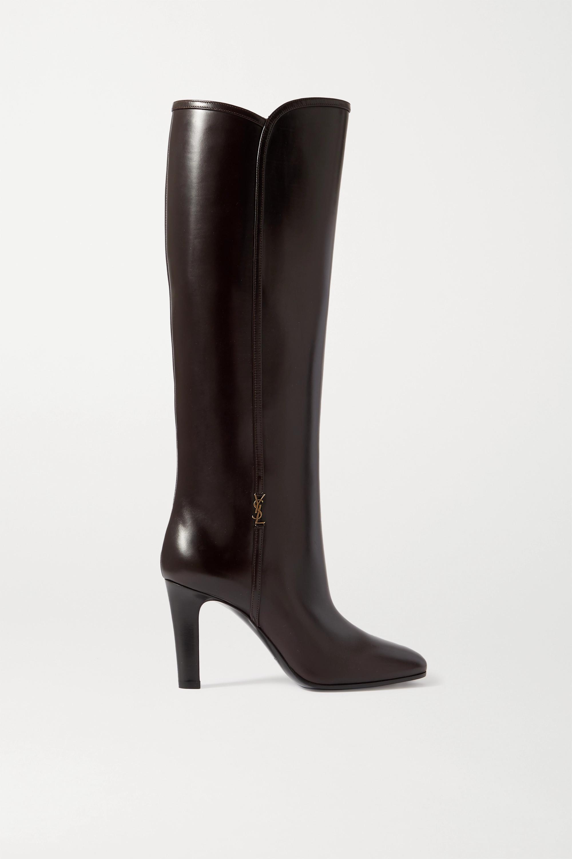 SAINT LAURENT Blu embellished leather knee boots