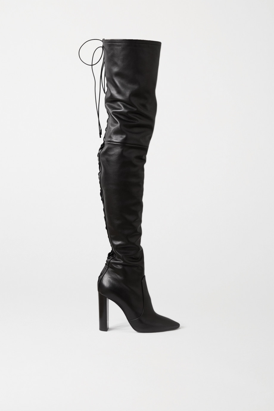 SAINT LAURENT Moon lace-up leather over-the-knee boots