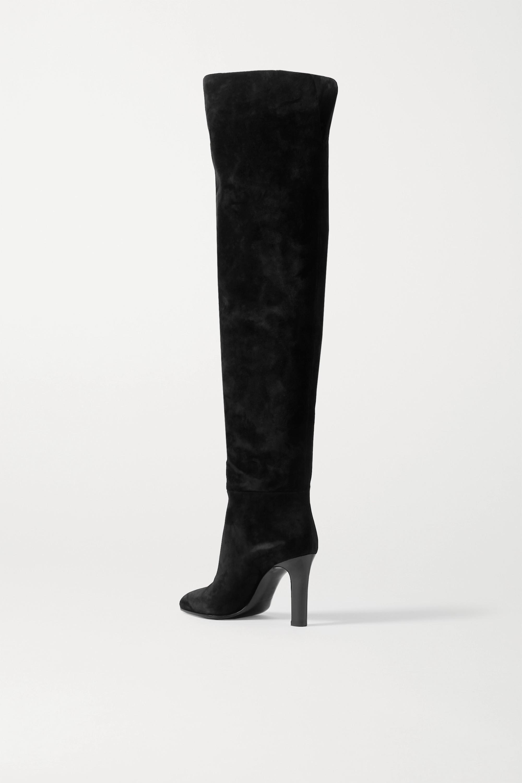 SAINT LAURENT Blu suede over-the-knee boots