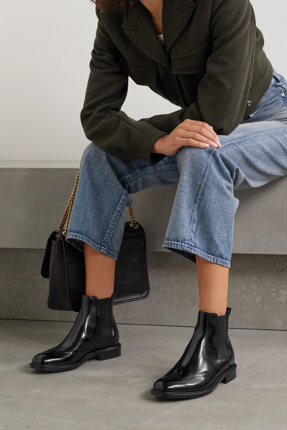 SAINT LAURENT Ceril glossed-leather Chelsea boots