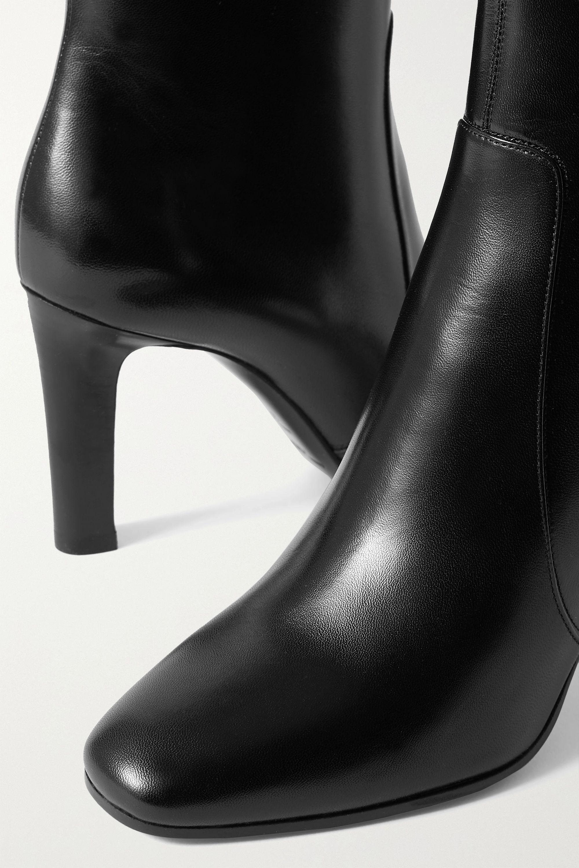 SAINT LAURENT Blu leather ankle boots