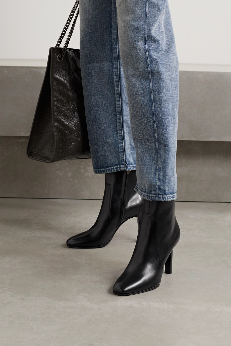 SAINT LAURENT Blu leather ankle boots
