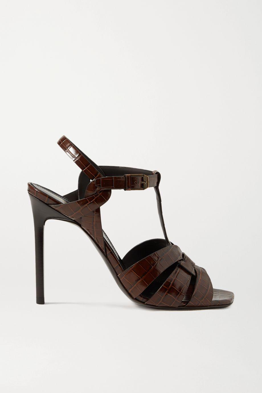 SAINT LAURENT Tribute Sandalen aus Leder mit Krokodileffekt in Flechtoptik