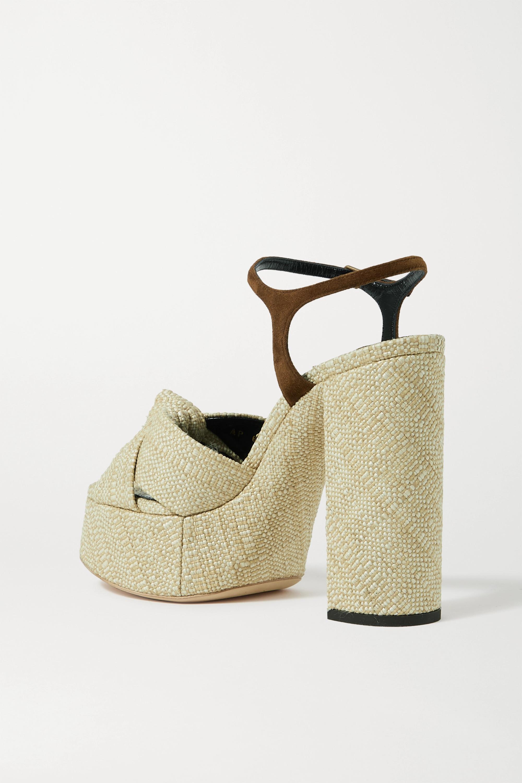 SAINT LAURENT Bianca suede-trimmed raffia platform sandals