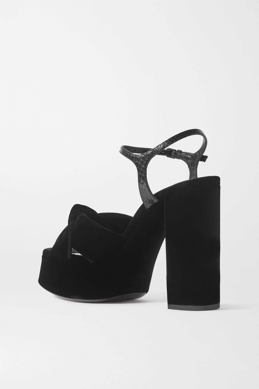 SAINT LAURENT Bianca snake-effect leather and velvet platform sandals