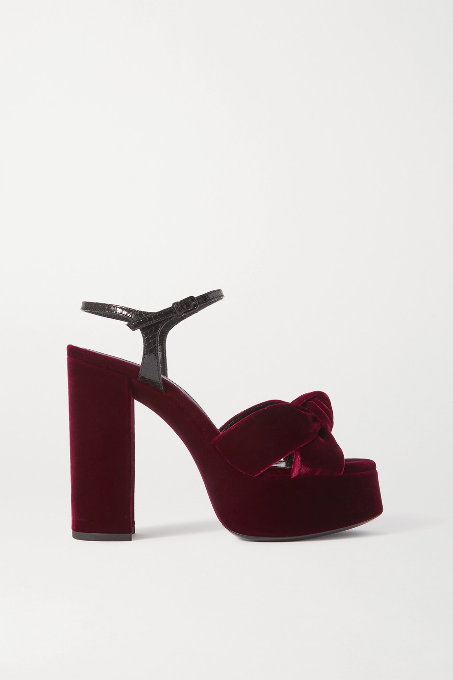 SAINT LAURENT Bianca snake-effect leather-trimmed knotted velvet platform sandals