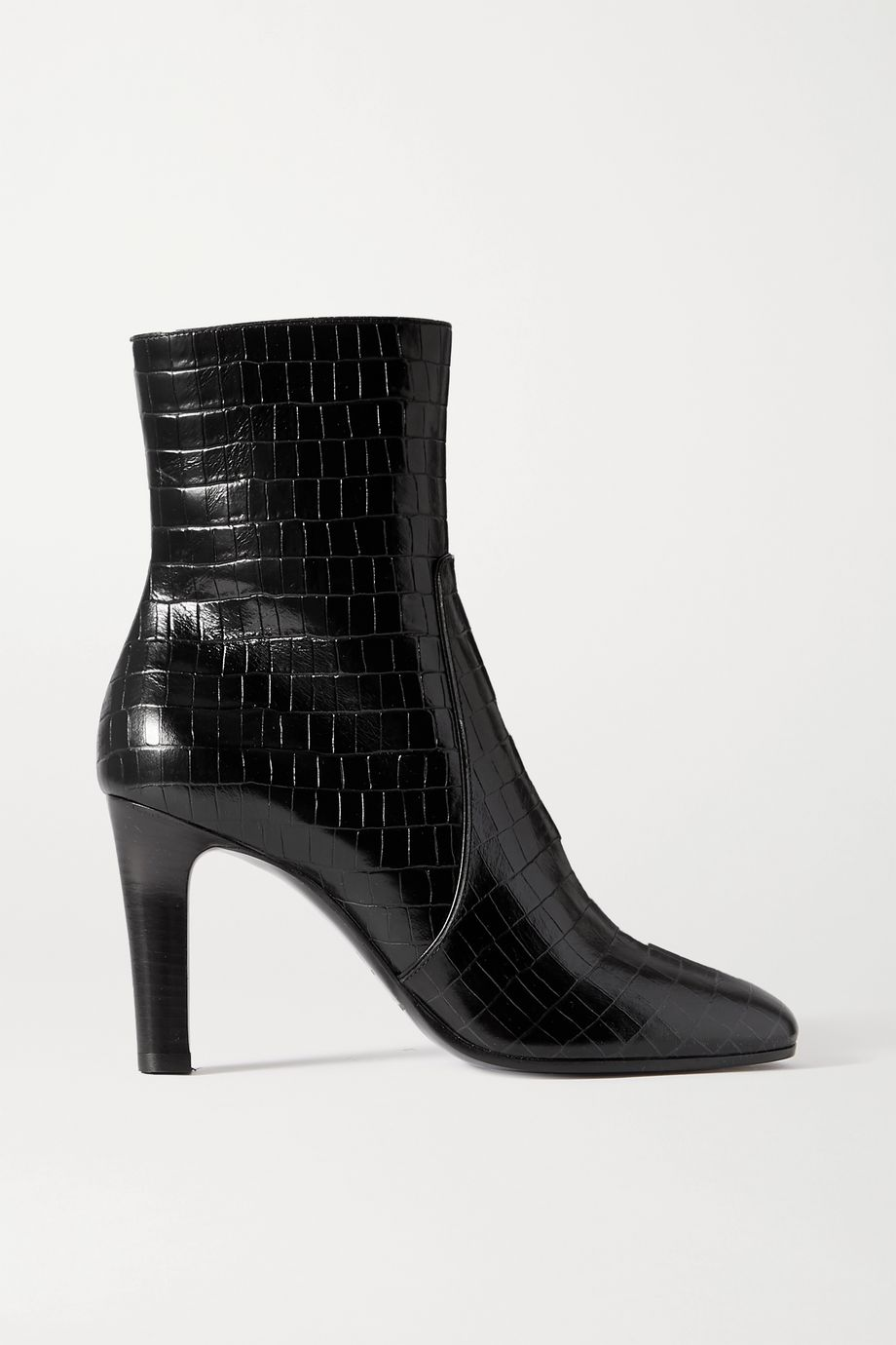 SAINT LAURENT Blu croc-effect leather ankle boots