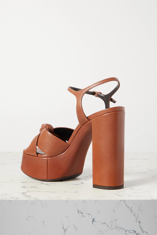 SAINT LAURENT Sandales plates-formes en cuir à nœuds Bianca