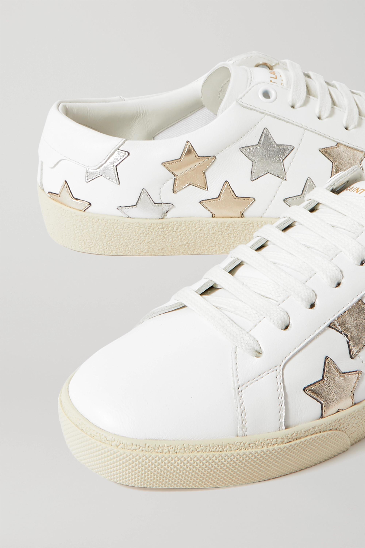 SAINT LAURENT Court Classic appliquéd metallic-trimmed leather sneakers