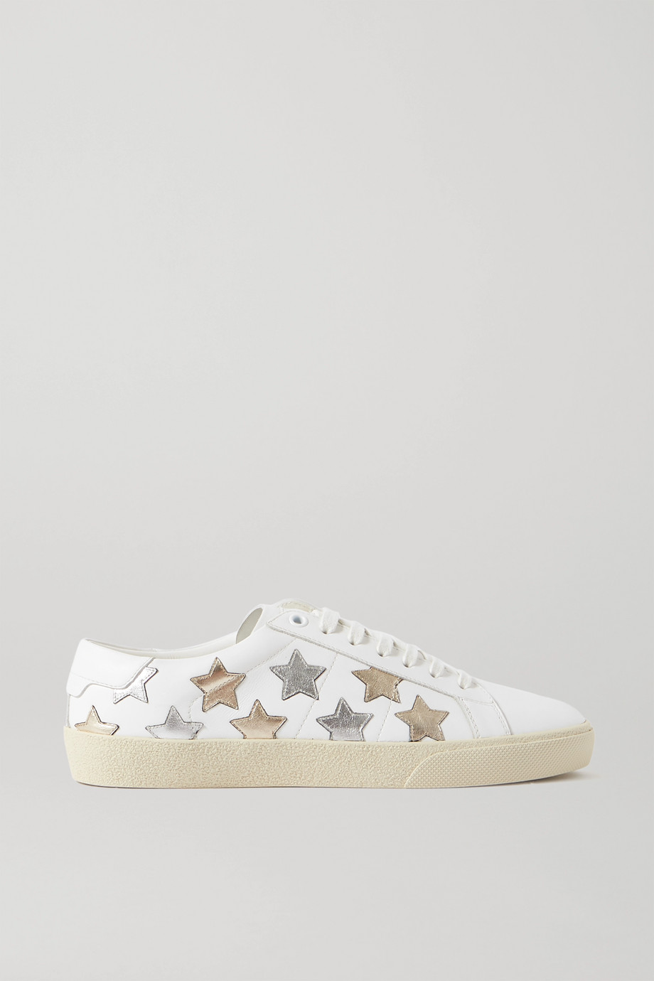 SAINT LAURENT Court Classic appliquéd metallic-trimmed leather sneakers