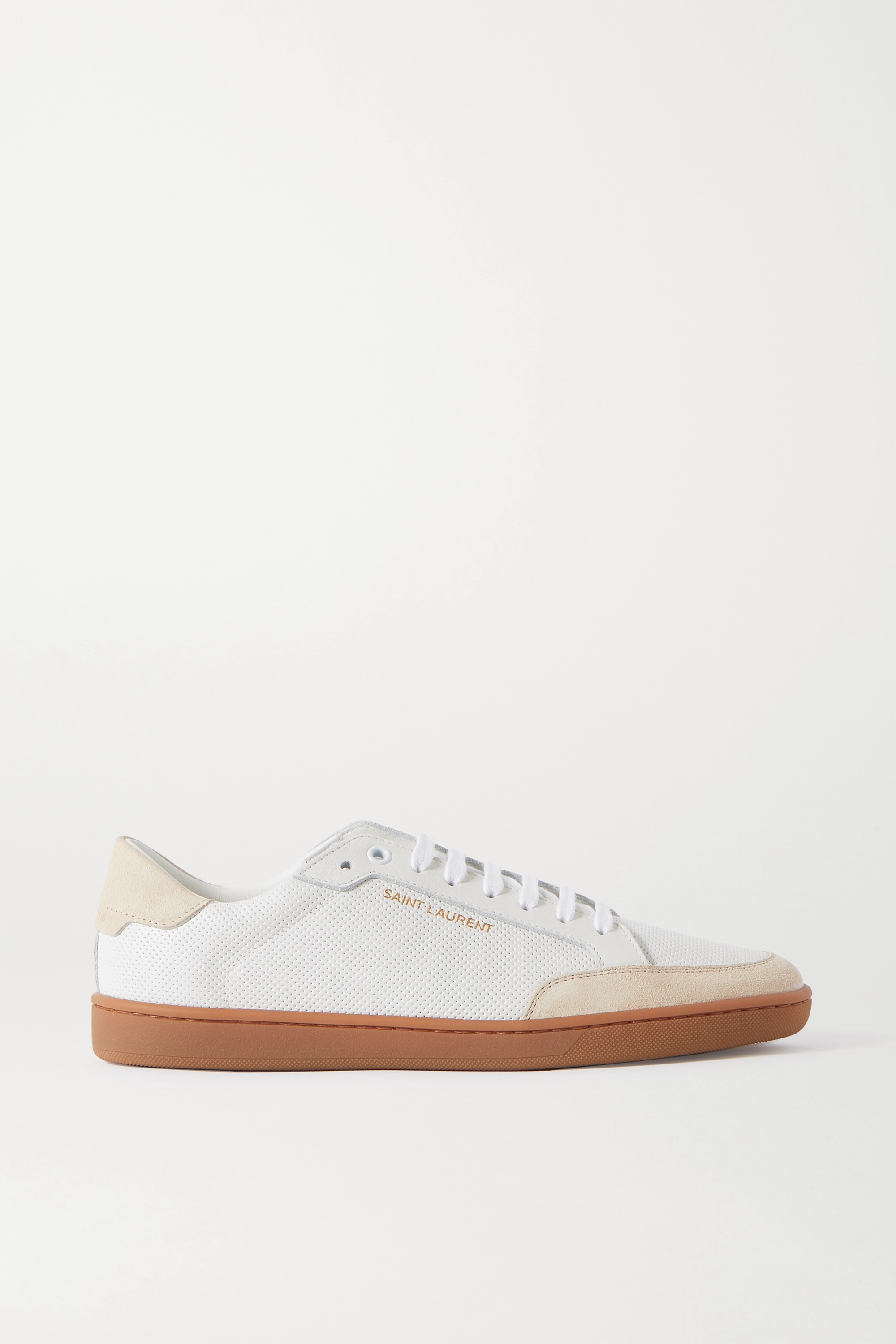 SAINT LAURENT Court Classic perforated leather and suede sneakers