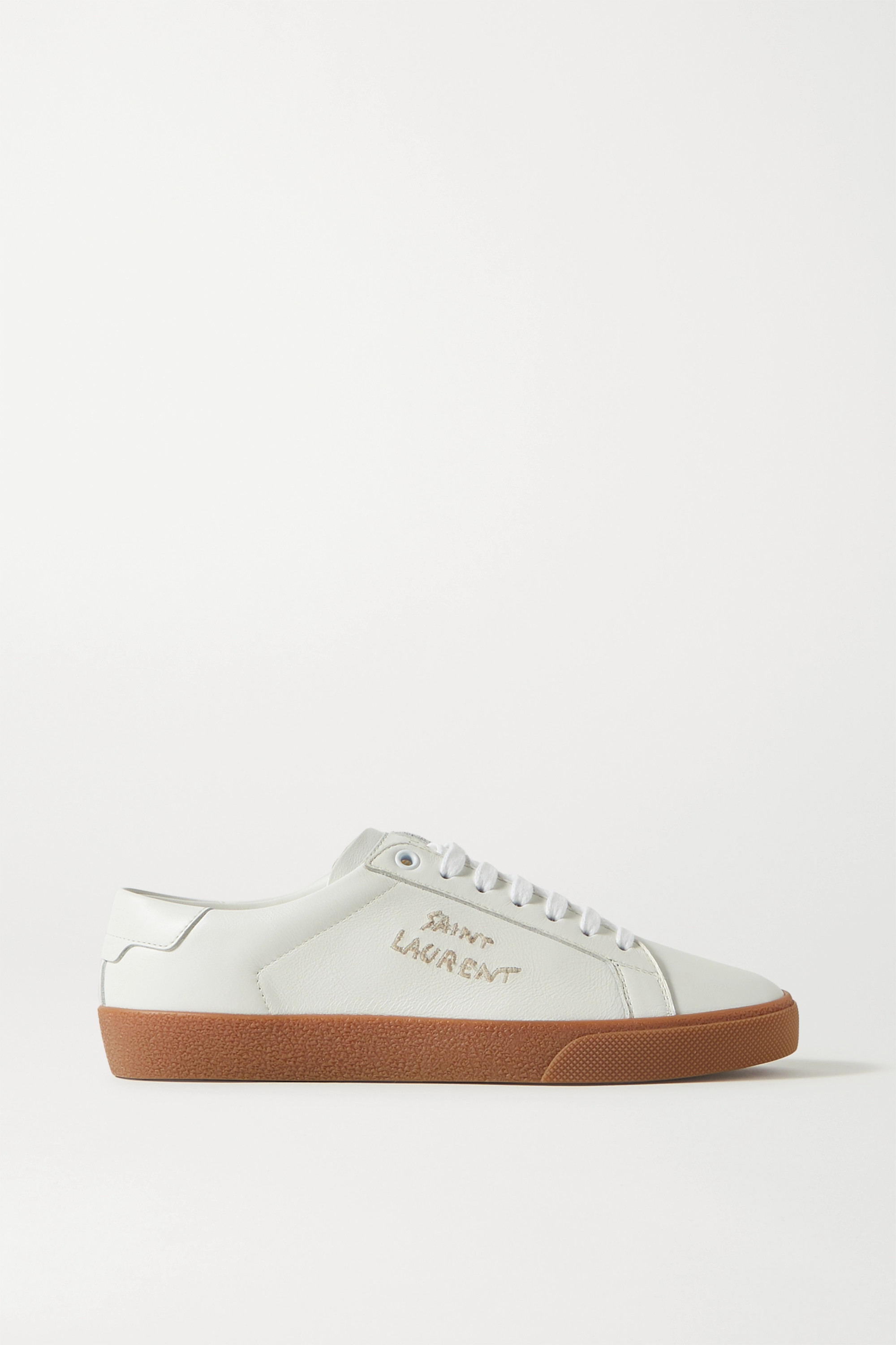 SAINT LAURENT Court Classic logo-embroidered leather sneakers