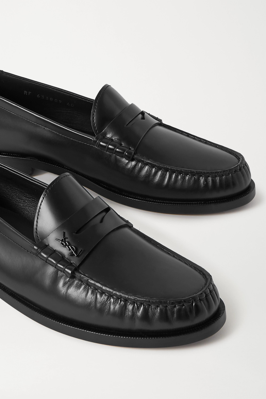 SAINT LAURENT Logo-appliquéd leather loafers
