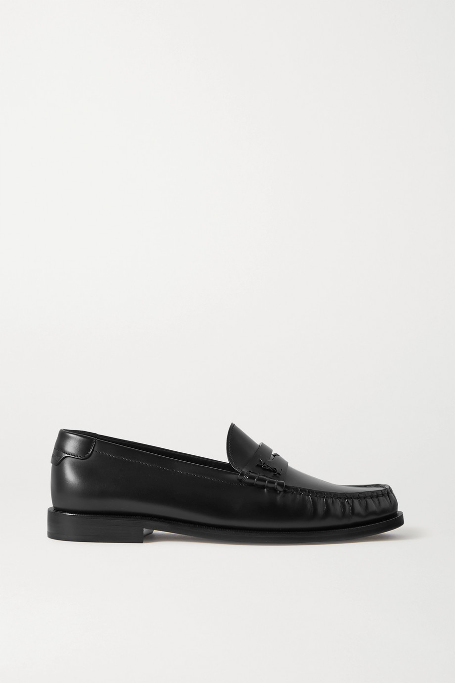 SAINT LAURENT Loafers aus Leder mit Logoapplikation