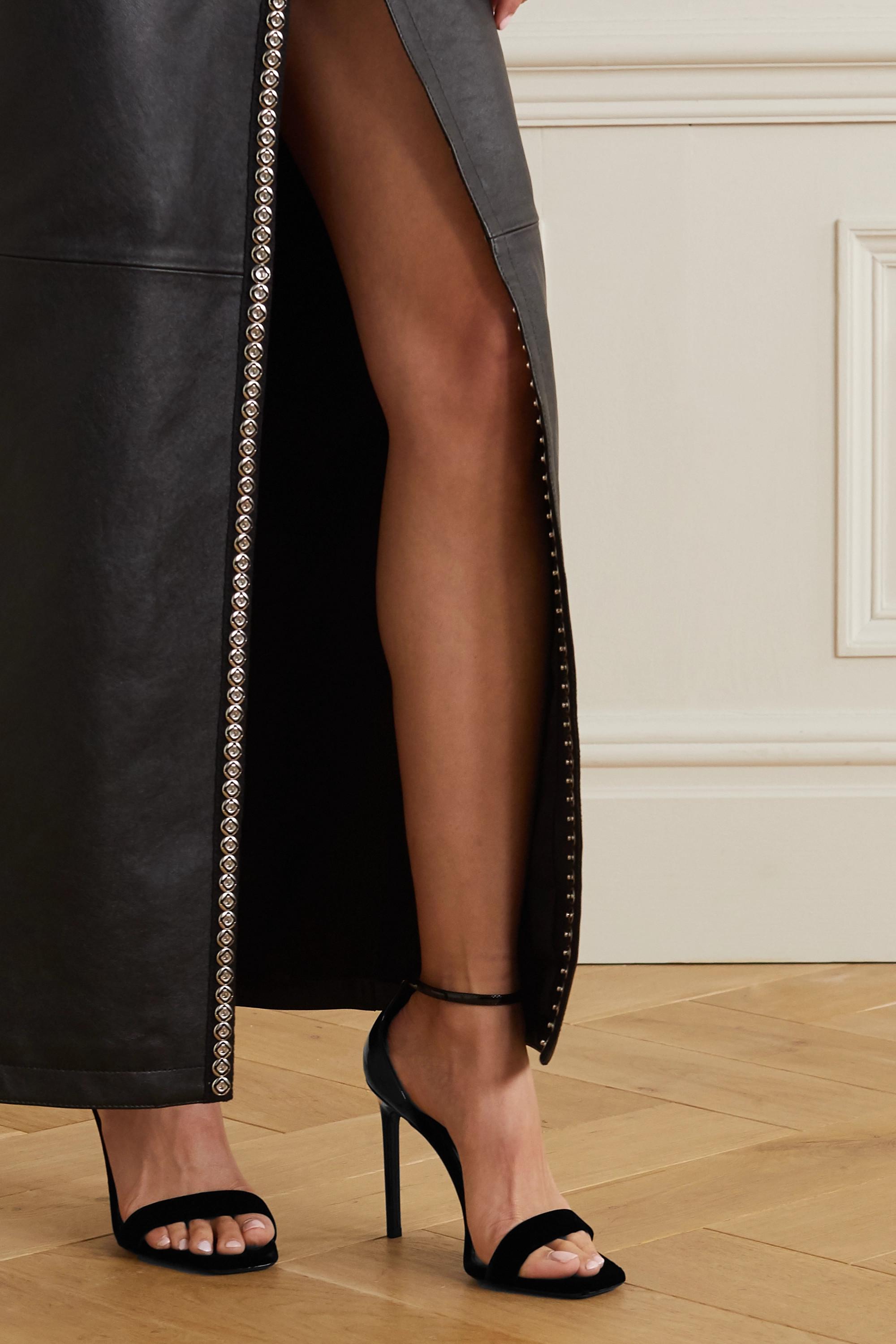 SAINT LAURENT Success patent-leather and velvet sandals