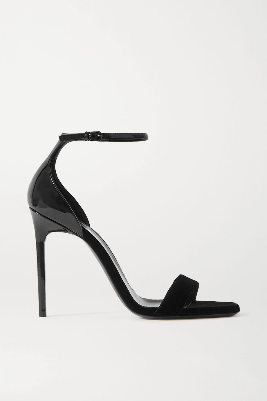 SAINT LAURENT Success patent-leather and velvet sandals
