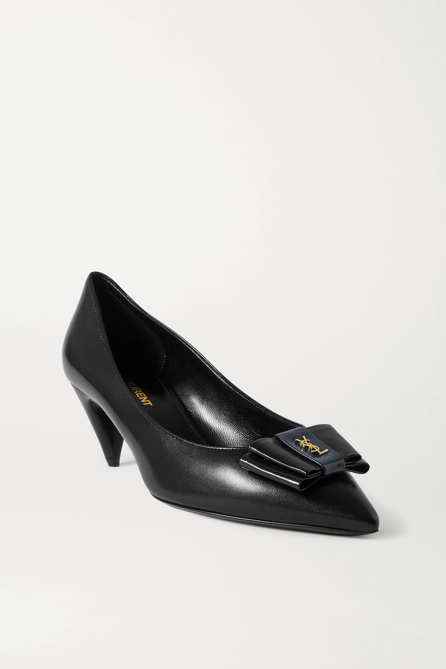 SAINT LAURENT Anais bow-embellished glossed-leather pumps
