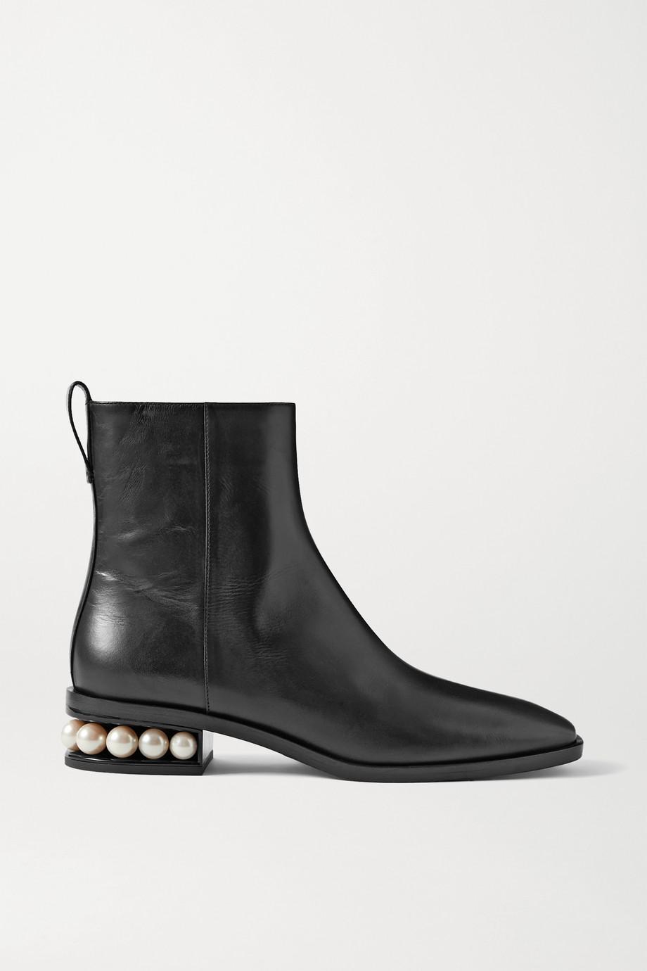 Nicholas Kirkwood Casati 人造珍珠缀饰皮革踝靴