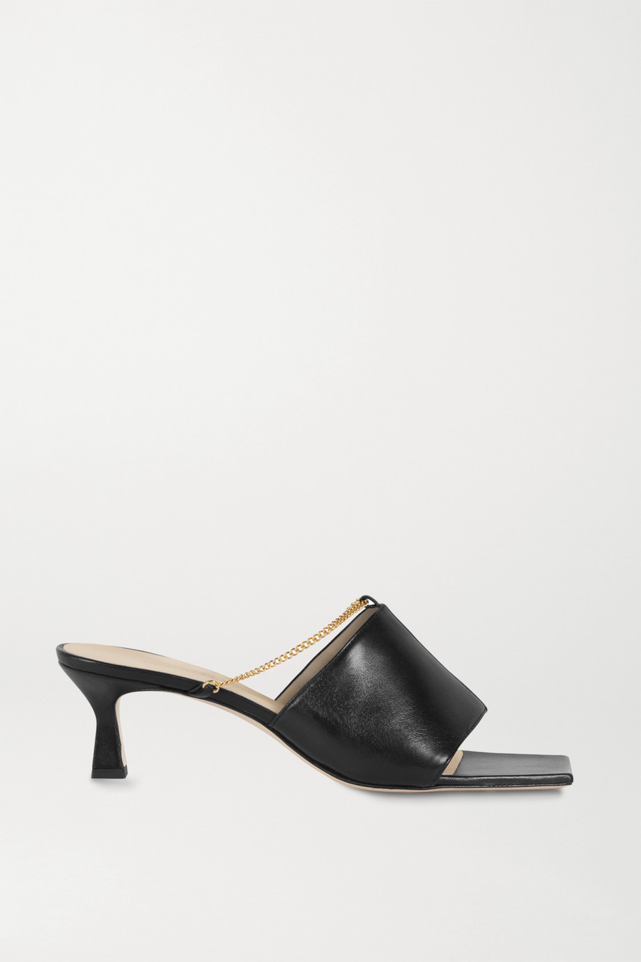 Wandler Isa chain-embellished leather mules