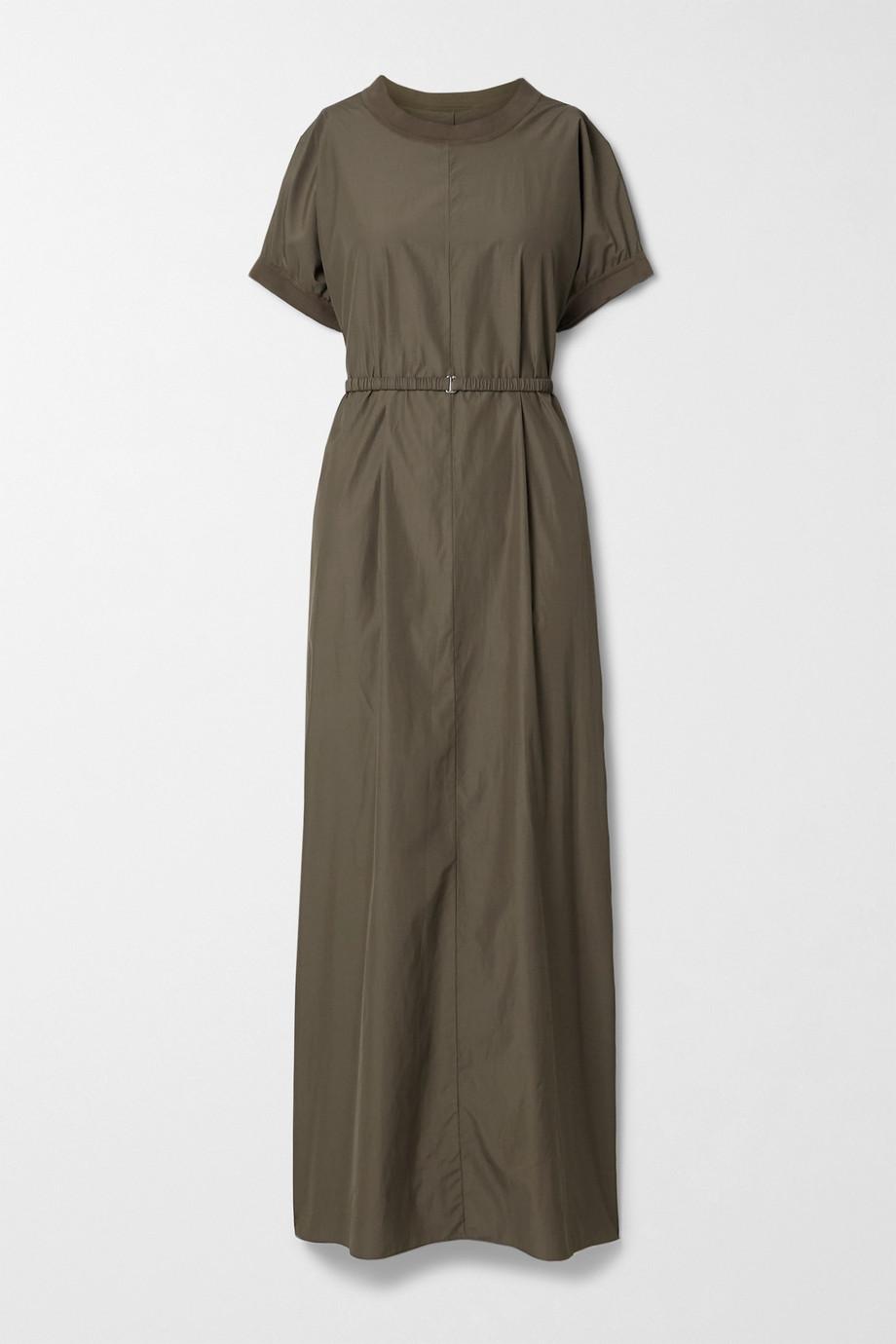 The Row Mafalda belted silk-blend jersey-trimmed poplin maxi dress