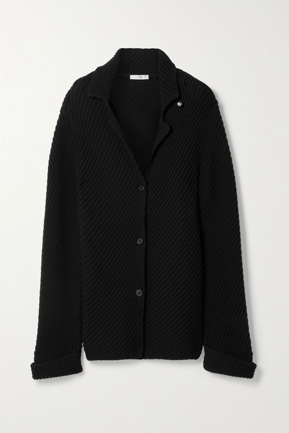 The Row Abely embellished ribbed wool cardigan