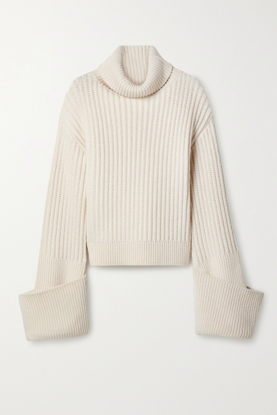 The Row Aneke oversized ribbed wool turtleneck sweater