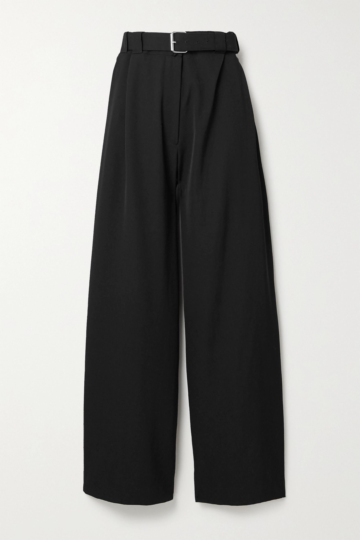 Black Nerea belted wool wide-leg pants | The Row | NET-A-PORTER
