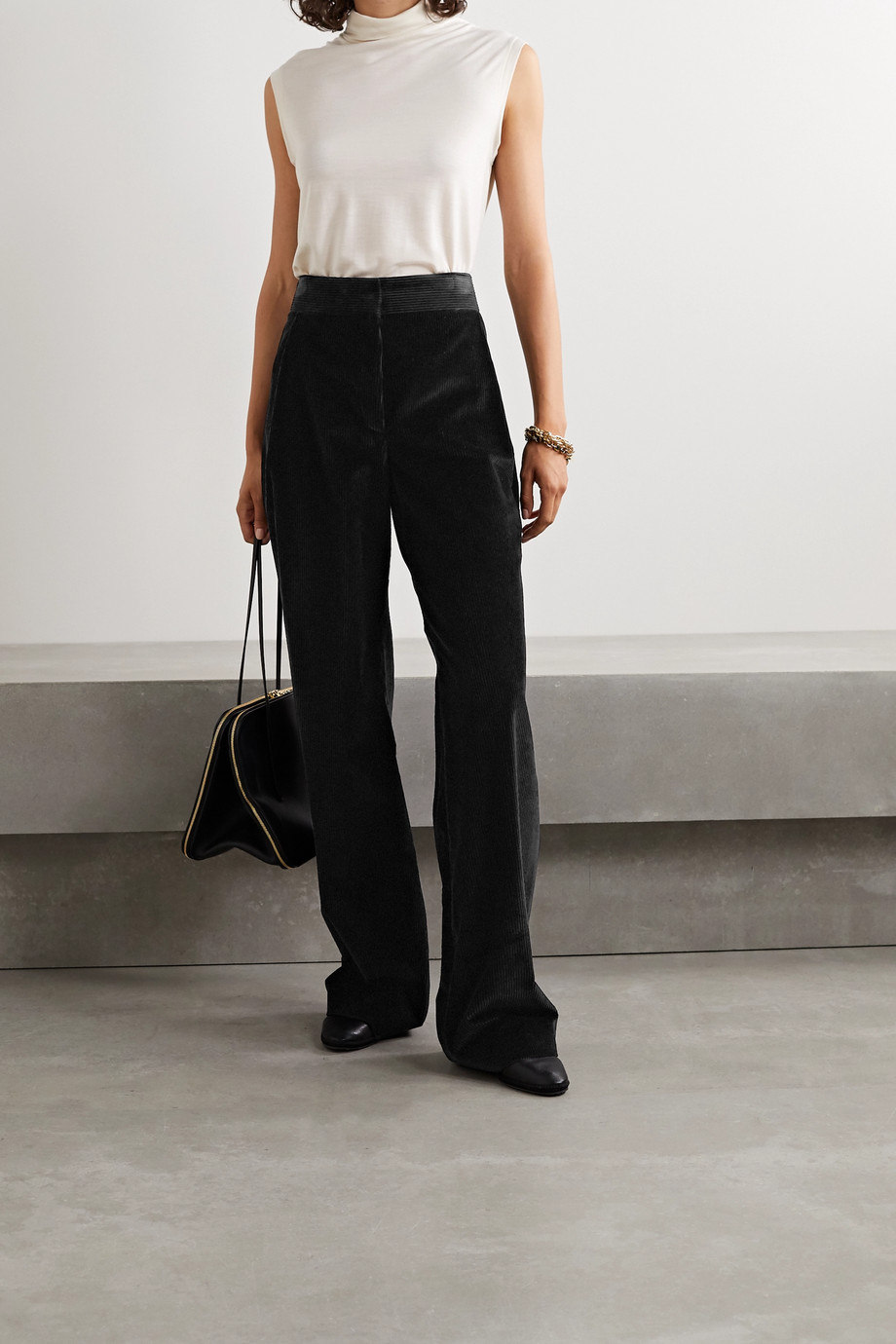 The Row Caylan cotton-corduroy wide-leg pants