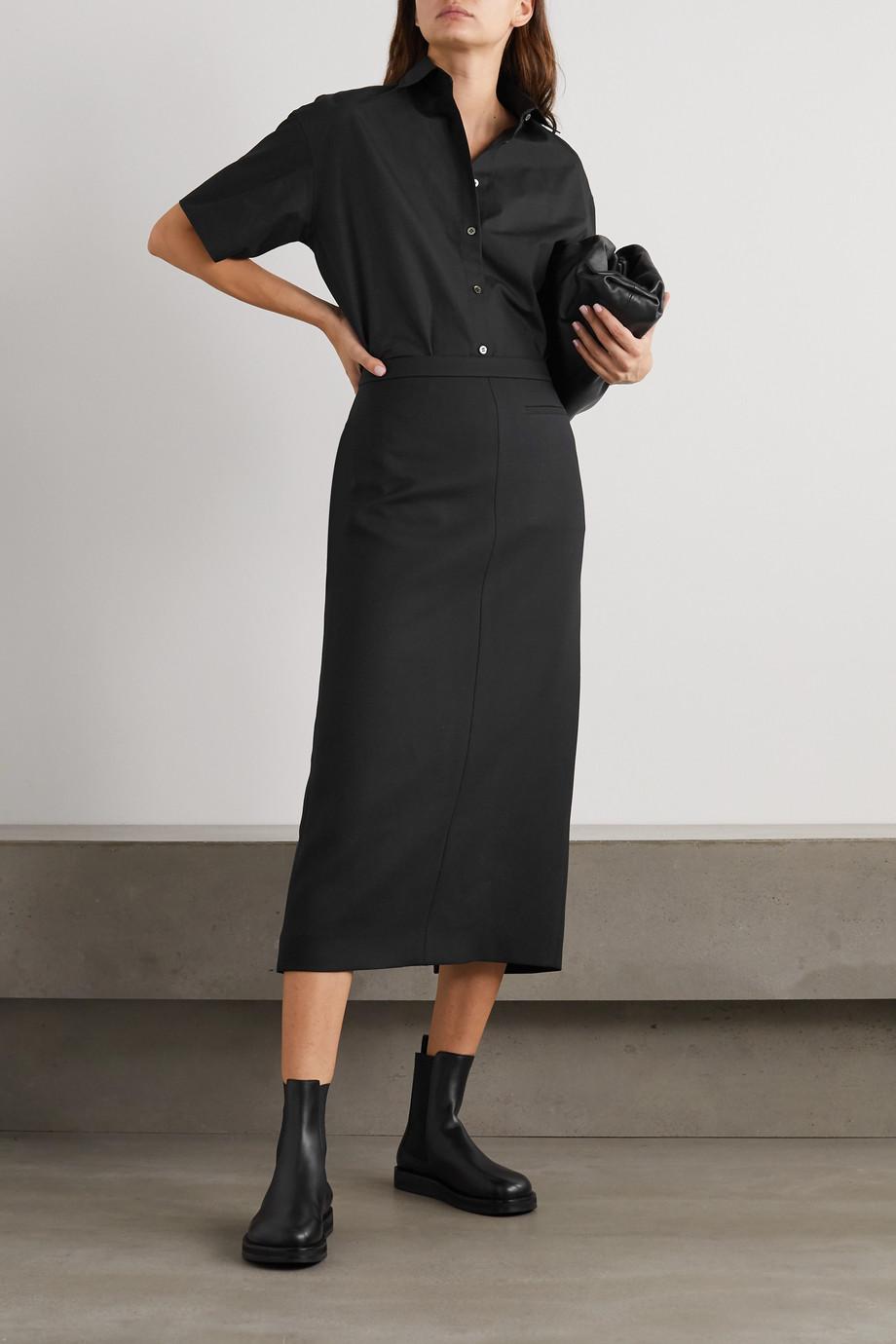 The Row Pol wool and silk-blend midi skirt