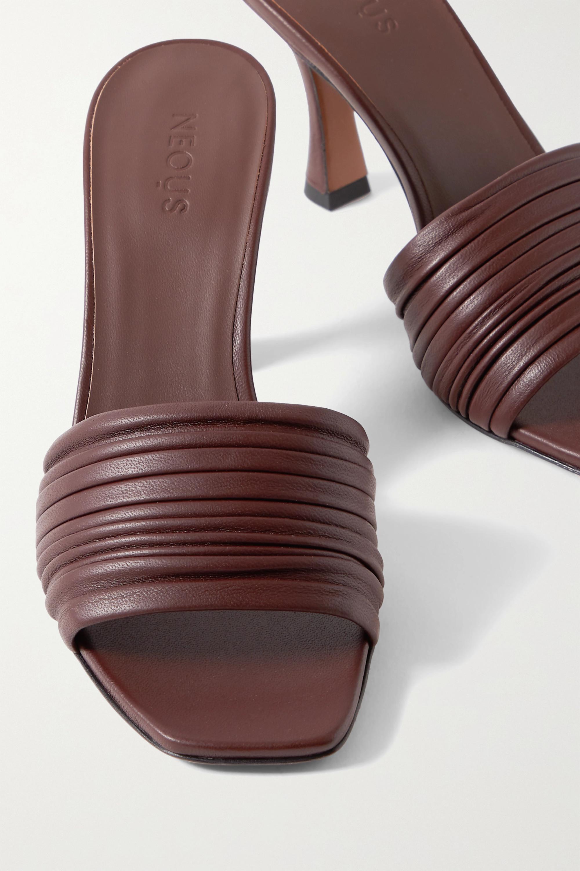 Dark brown Sham ruched leather mules