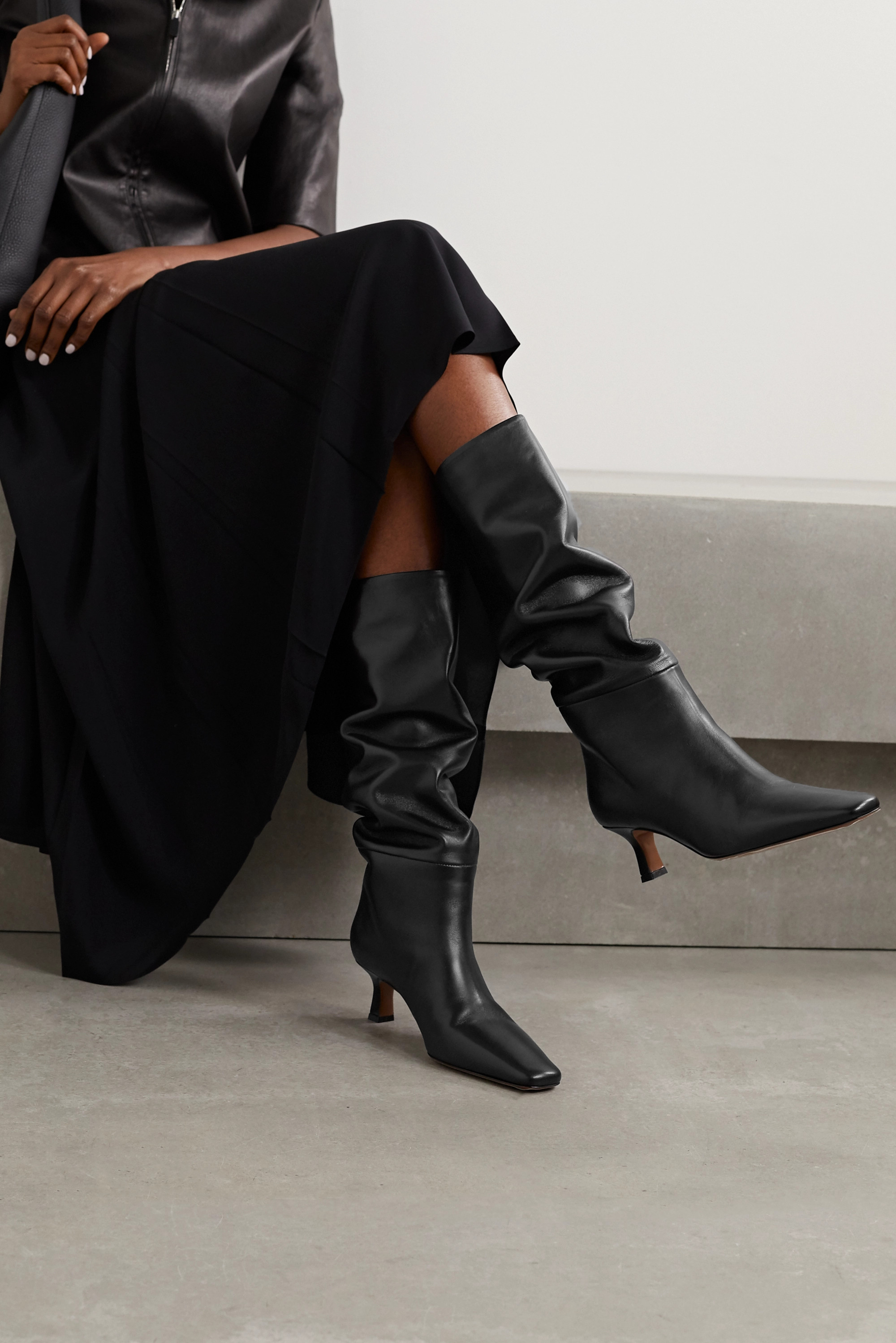 Black Cynis Leather Knee Boots   Neous
