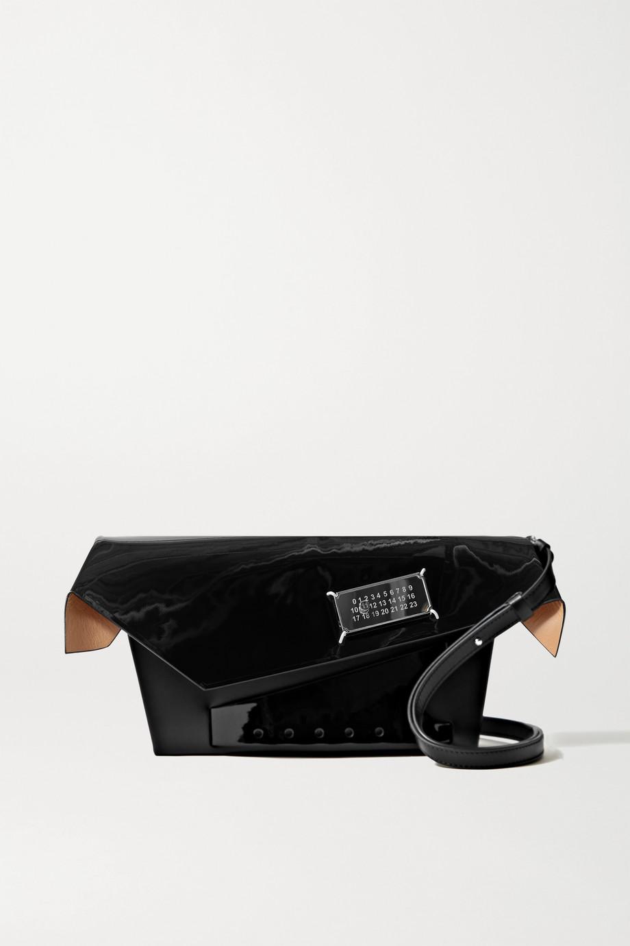 Maison Margiela Snatched Schultertasche aus Leder mit Verzierung und Lacklederbesatz