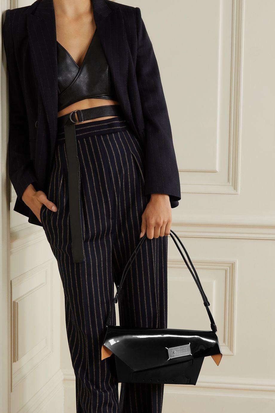 Maison Margiela Snatched embellished patent-trimmed leather shoulder bag
