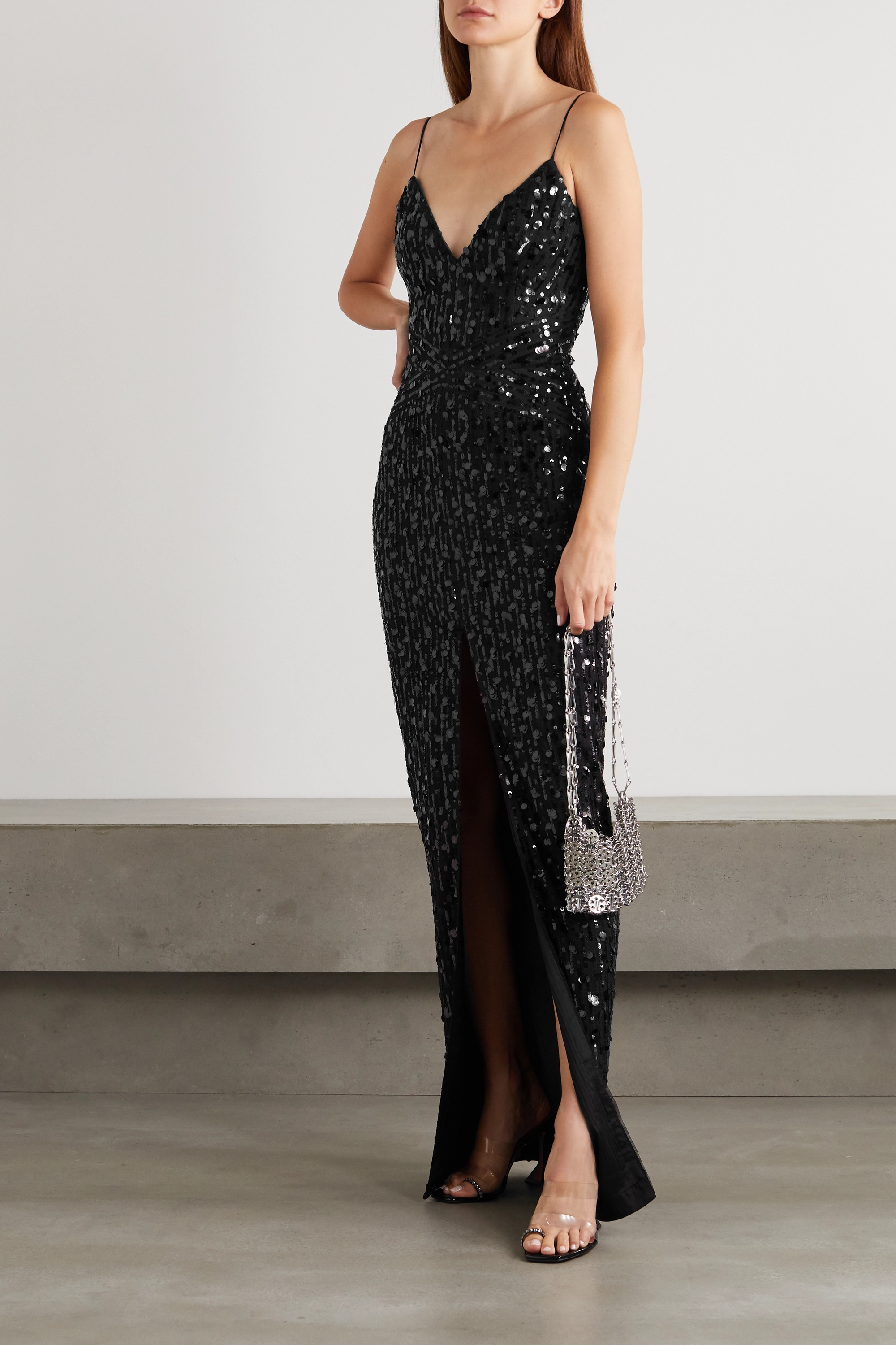 Black Sequin-embellished Tulle Gown | Rasario