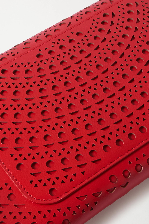 Alaïa Oum mittelgroße Clutch aus lasergeschnittenem Leder