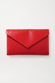 Alaïa Oum medium laser-cut leather clutch