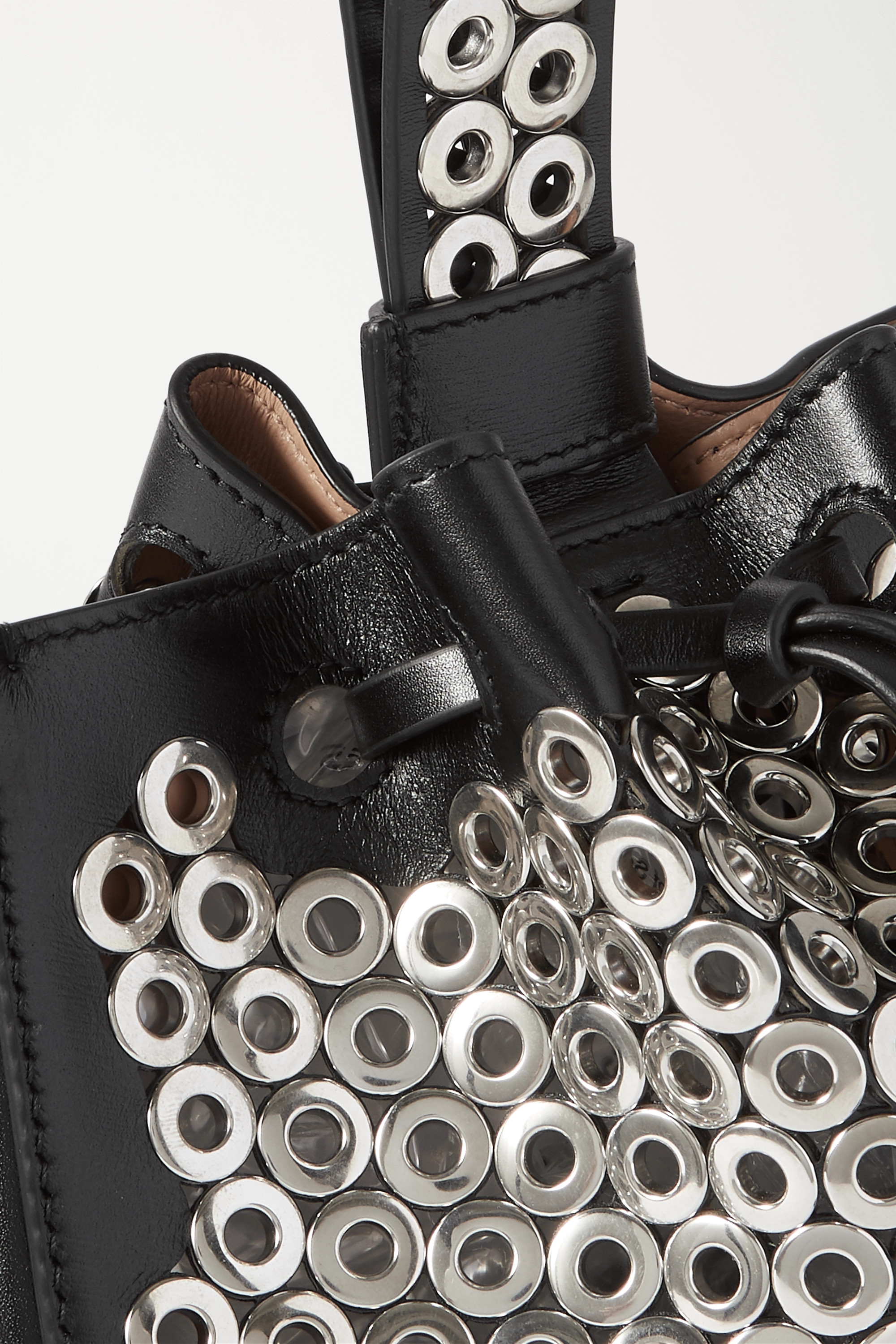 Alaïa Rose Marie mini eyelet-embellished leather bucket bag