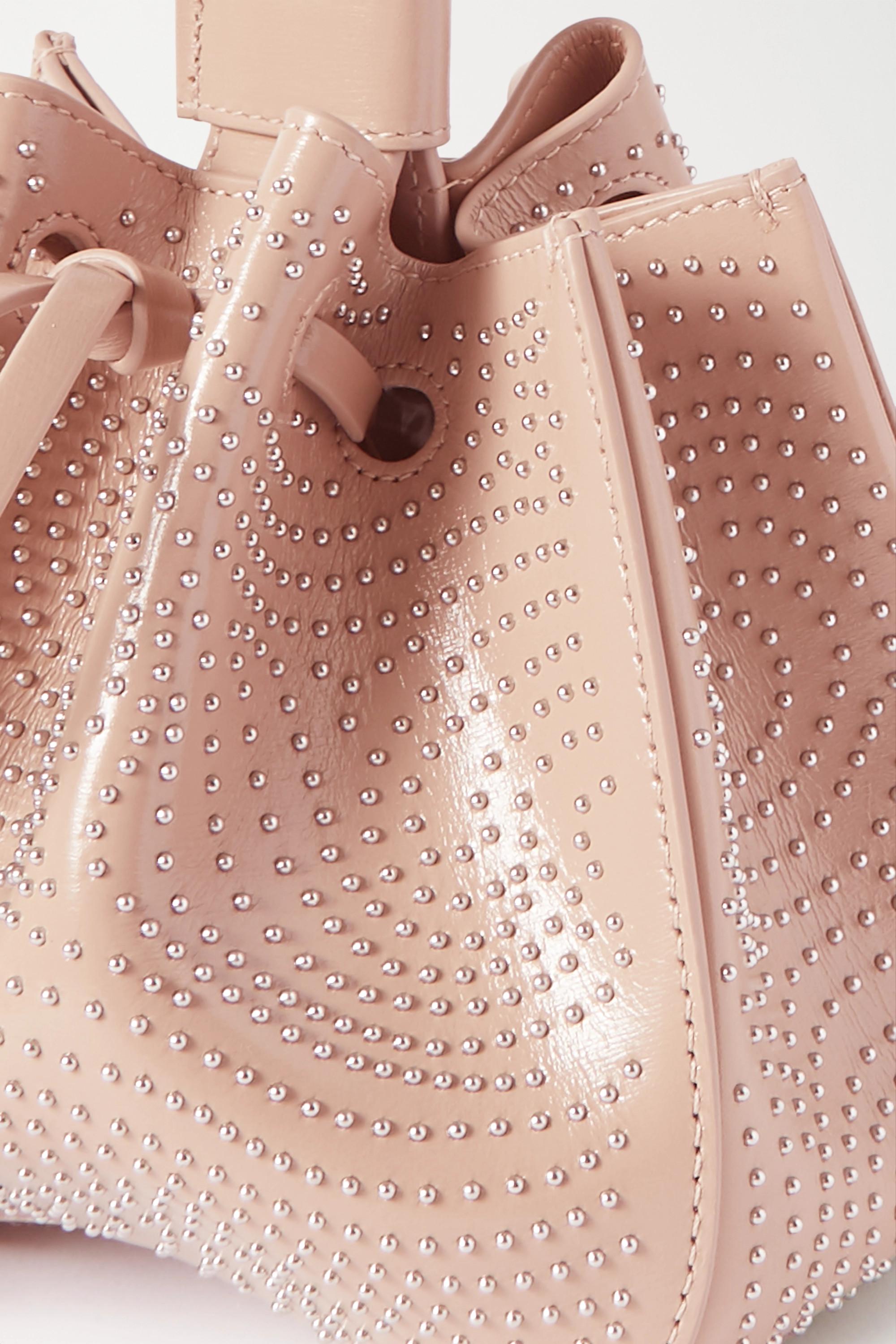 Beige Rose Marie Small Studded Leather Bucket Bag | Alaïa