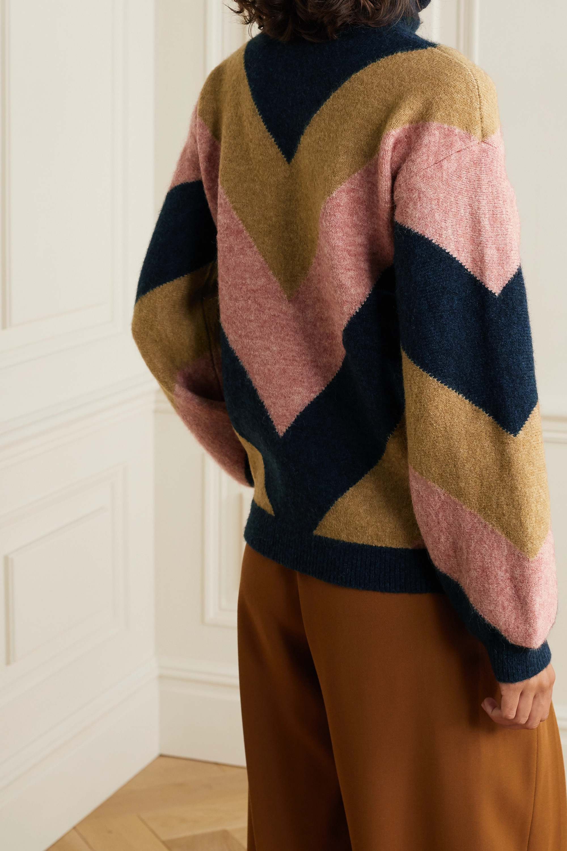 Victoria, Victoria Beckham Oversized color-block jacquard-knit turtleneck sweater