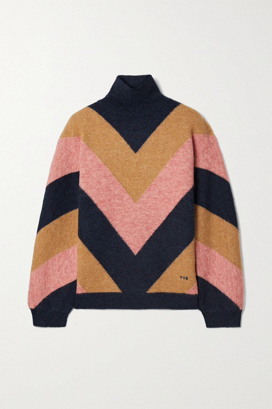 Victoria, Victoria Beckham Oversized color-block jacquard-knit turtleneck sweater