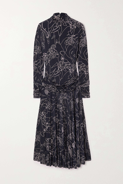 Victoria, Victoria Beckham Pleated printed stretch-crepe turtleneck maxi dress