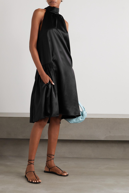 Victoria, Victoria Beckham Smocked satin halterneck dress