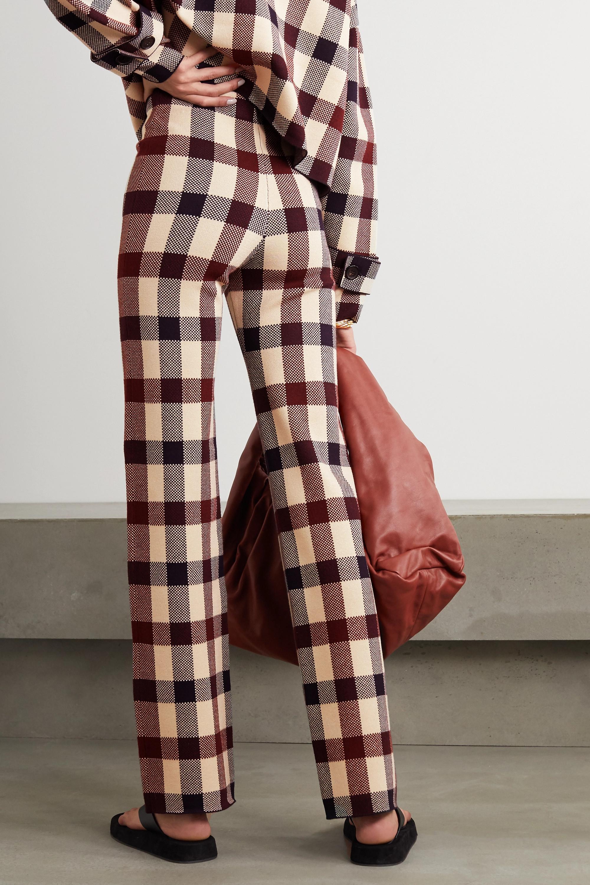 Victoria, Victoria Beckham Checked stretch-knit straight-leg pants