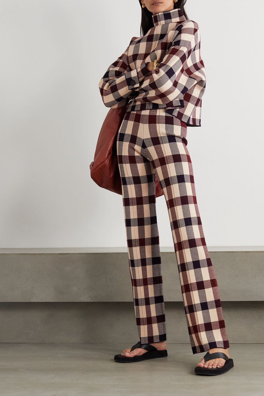 Victoria, Victoria Beckham Checked stretch-knit straight-leg pants
