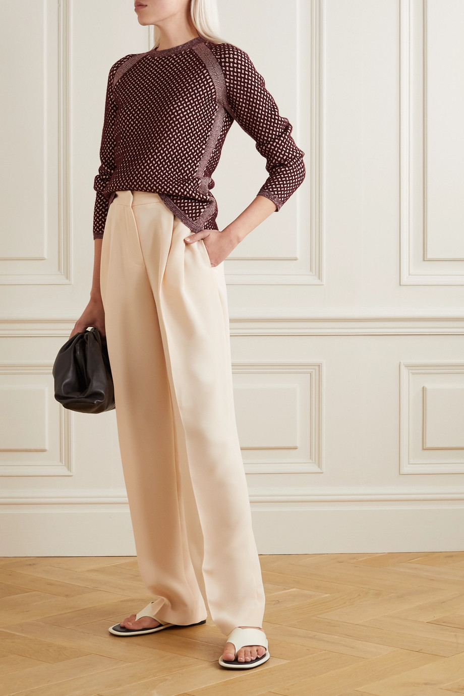 Victoria, Victoria Beckham Two-tone cable-knit sweater