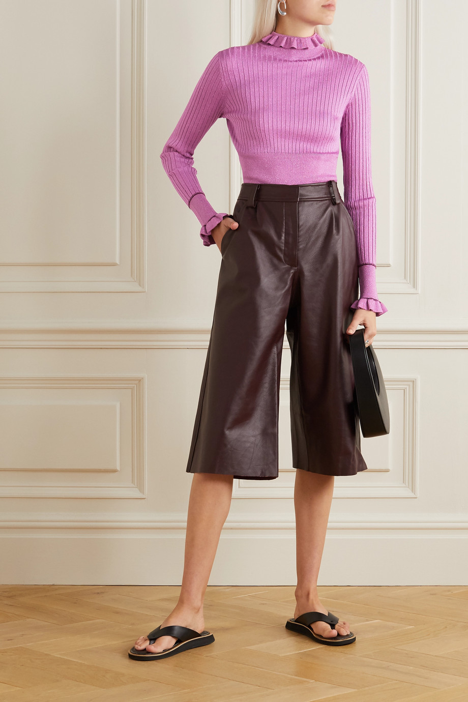 Victoria, Victoria Beckham Ruffled metallic ribbed-knit sweater
