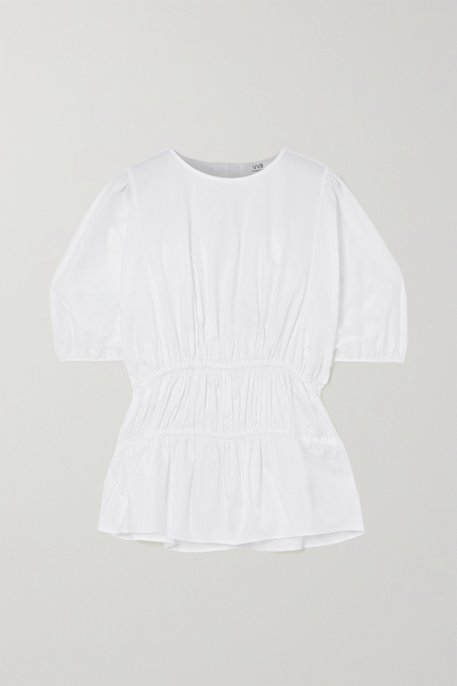 Victoria, Victoria Beckham Gathered cotton-poplin top