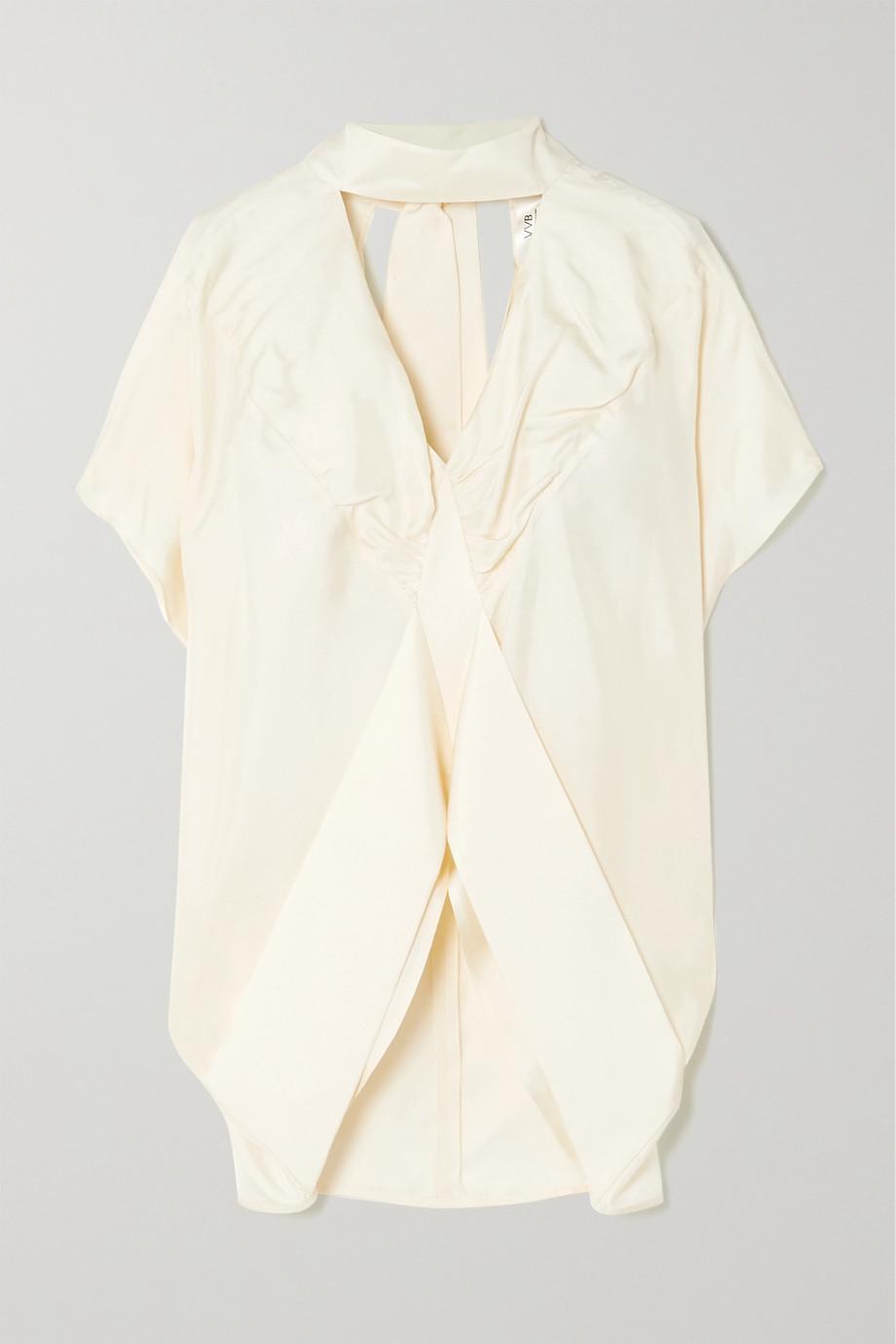 Victoria, Victoria Beckham Tie-neck cutout silk-satin blouse