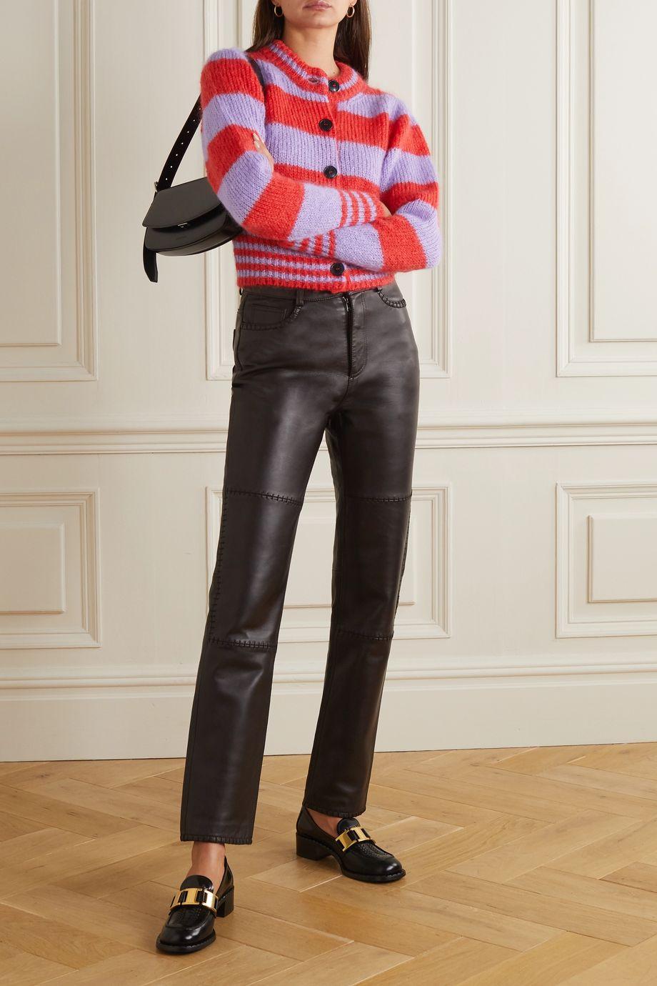 ALEXACHUNG Striped mohair-blend cardigan