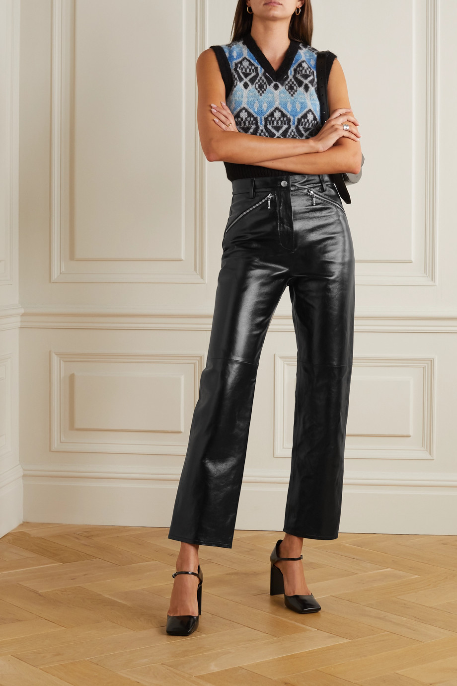 ALEXACHUNG Crinkled glossed-leather straight-leg pants